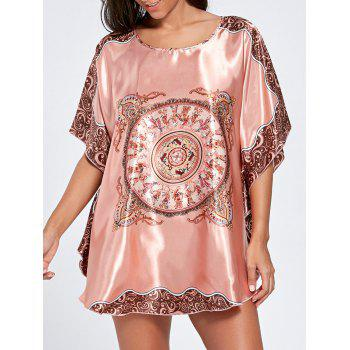 Batwing Sleeve Satin Tunic Pajama Top - WATERMELON RED ONE SIZE