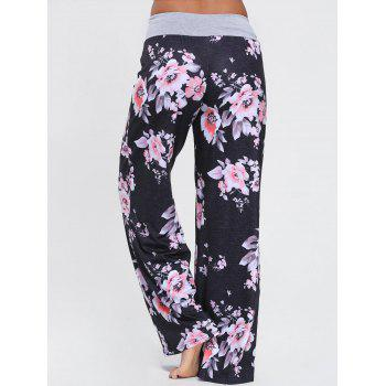 Floral Wide Leg Drawstring Pants - BLACK S