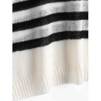 V Neck Striped Slit Sleeve Sweater - ONE SIZE ONE SIZE