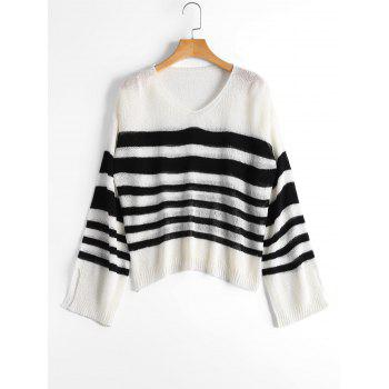 V Neck Striped Slit Sleeve Sweater - WHITE AND BLACK ONE SIZE