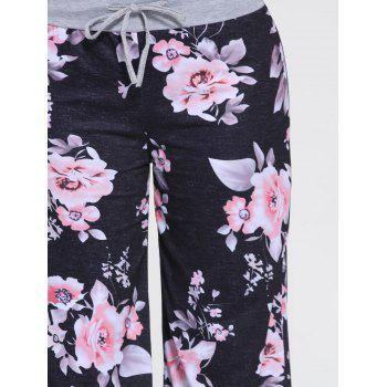Floral Wide Leg Drawstring Pants - 2XL 2XL
