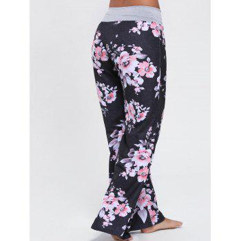Floral Wide Leg Drawstring Pants - BLACK 2XL