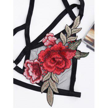 Applique Mesh Strappy Choker Bra Top - XL XL