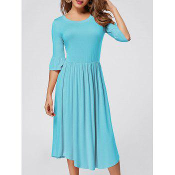 Ruffle Sleeve Midi Jersey Dress - BLUE BLUE