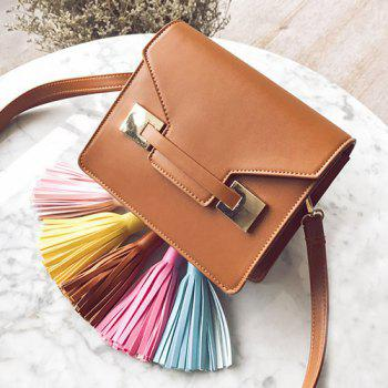 Tassels Metal Detail Crossbody Bag - Brun