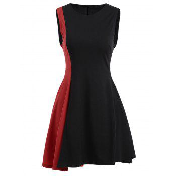 Color Block Asymmetrical Mini Dress - BLACK AND RED L