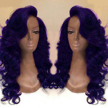 Deep Side Part Body Wave Long Synthetic Wig - PURPLE PURPLE