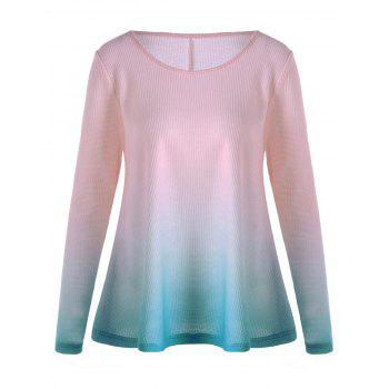 Long Sleeve Ombre Knitted T-shirt