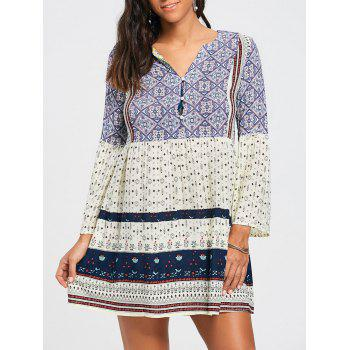 Three Quarter Sleeve V Neck Tunic Dress - COLORMIX XL