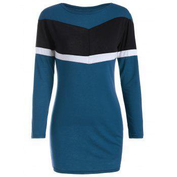 Color Block Mini Long Sleeve Bodycon Dress