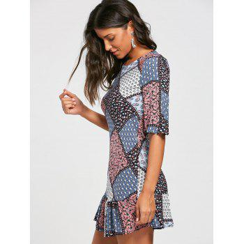 Half Sleeve Patchwork Print Drop Waist Dress - COLORMIX COLORMIX