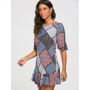 Half Sleeve Patchwork Print Drop Waist Dress - M M