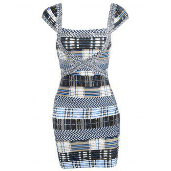 Plaid Cap Sleeve Bandage Dress