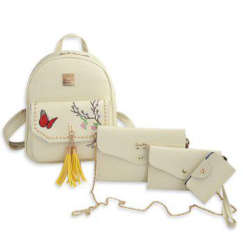 Embroidery Tassels Studded Backpack Set