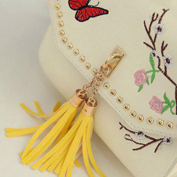 Embroidery Tassels Studded Backpack Set - PALOMINO