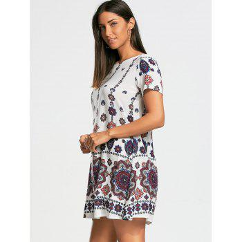 Short Sleeve Bohemia Print Tunic Dress - S S