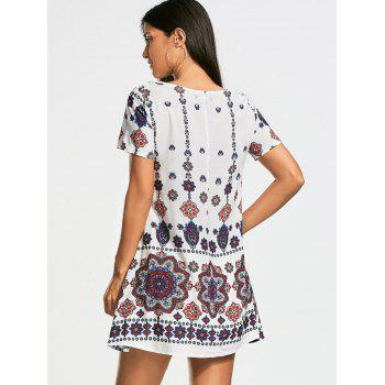 Short Sleeve Bohemia Print Tunic Dress - WHITE WHITE