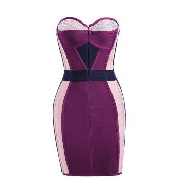 Rhinestone Color Block Tube Bandage Dress