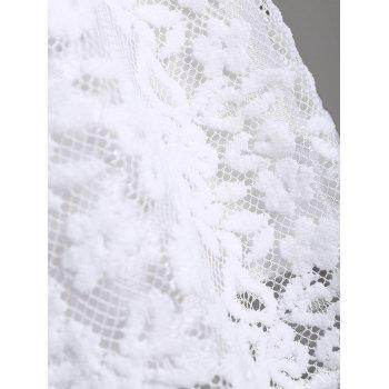 Mock Neck Overlay Min Lace Dress - Blanc XL