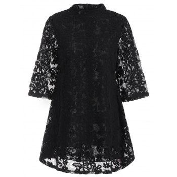Mock Neck Overlay Min Lace Dress - BLACK XL