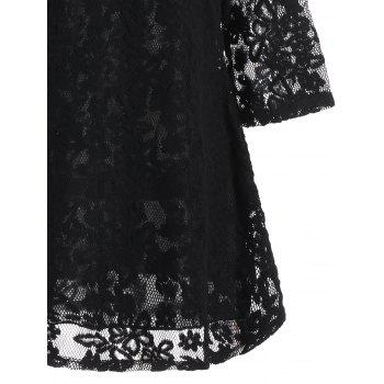 Mock Neck Overlay Min Lace Dress - Noir M