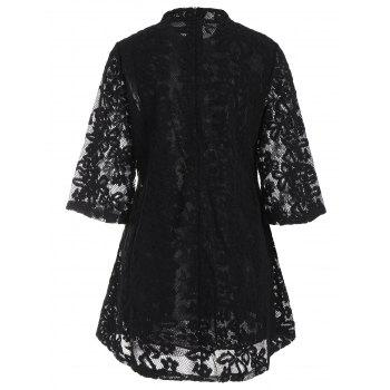 Mock Neck Overlay Min Lace Dress - BLACK S