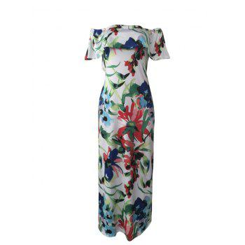 Floral Off The Shoulder Maxi Evening Dress