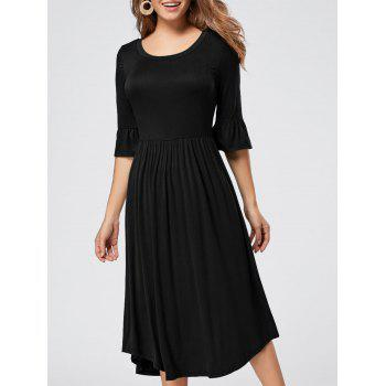 Ruffle Sleeve Midi Jersey Dress - BLACK BLACK