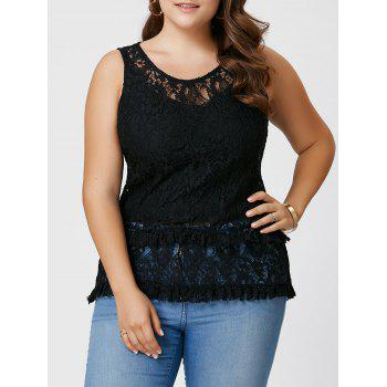 Plus Size See Through Lace Tank Top