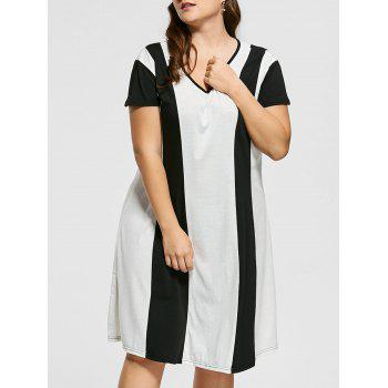 Casual Two Tone Knee Length Plus Size Dress