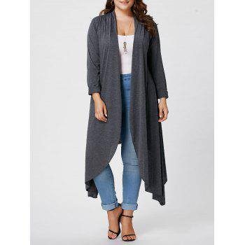Plus Size Front Open Maxi Asymmetric Cardigan