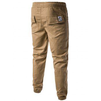 Drawstring Back Pockets Beam Feet Jogger Pants - KHAKI L