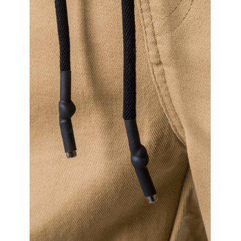 Drawstring Back Pockets Beam Feet Jogger Pants - KHAKI 3XL