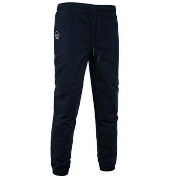 Drawstring Back Pockets Beam Feet Jogger Pants - CADETBLUE 3XL