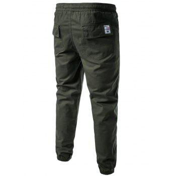 Drawstring Back Pockets Beam Feet Jogger Pants - ARMY GREEN L
