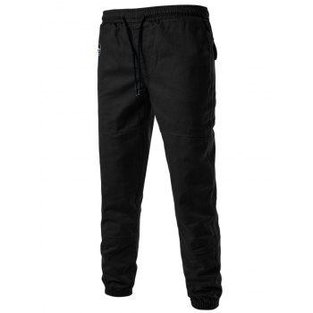 Drawstring Back Pockets Beam Feet Jogger Pants - BLACK 3XL