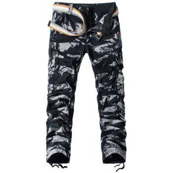 Camouflage Zipper Fly Pockets Embellished Cargo Pants - CAMOUFLAGE 32
