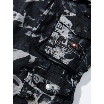 Camouflage Zipper Fly Pockets Embellished Cargo Pants - CAMOUFLAGE 34