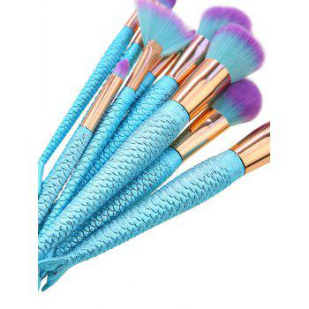 10Pcs Ombre Hair Mermaid Tail Makeup Brushes Kit -  BLUE