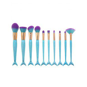 10Pcs Ombre Hair Mermaid Tail Makeup Brushes Kit - BLUE BLUE