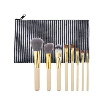 8Pcs Multifunctional Makeup Brushes Set with Bag - BLACK BLACK
