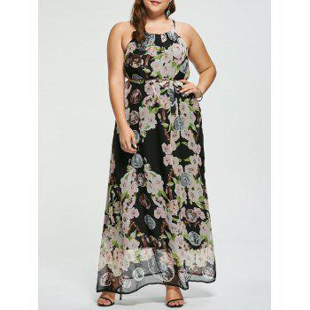 Floral Sleeveless Plus Size Floor Length Prom Dress