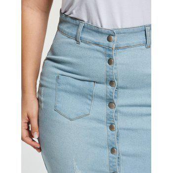 Bouton de lavage léger Up Bodycon Denim Jupe - Bleu clair 4XL