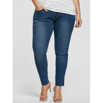 Plus Size Ankle Length Skinny Jeans - DENIM BLUE 4XL