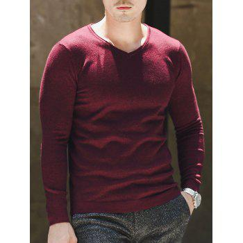 Plain V Neck Pullover Sweater - XL XL