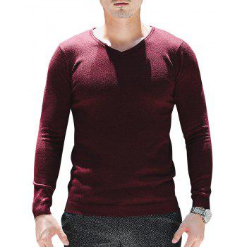 Plain V Neck Pullover Sweater - WINE RED XL