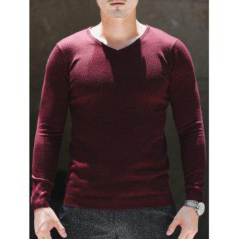 Plain V Neck Pullover Sweater - 3XL 3XL