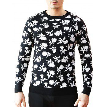 Floral Pattern Crew Neck Sweater - BLACK 2XL