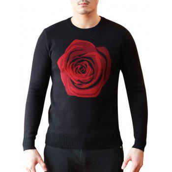 Rose Pattern Crew Neck Pullover Sweater - BLACK XL