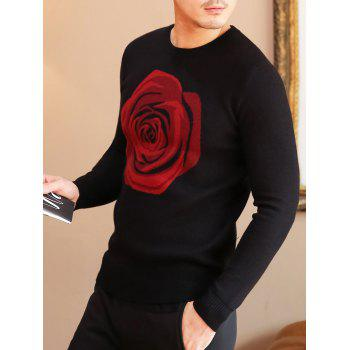 Rose Pattern Crew Neck Pullover Sweater - XL XL